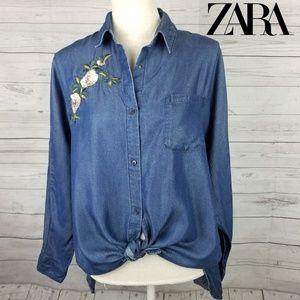 Zara Basic Z1975 Embroidered Denim Button Top